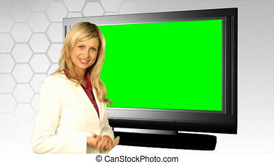 devant, écran, femme, vert