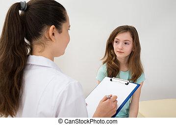 devant, écriture, patient, presse-papiers, docteur