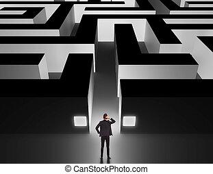 devant, énorme, homme affaires, labyrinthe