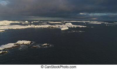 devant, îles, antarctique, aérien, neigeux, vue, sur