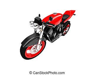 devant, 02, motocyclette, isolé, vue