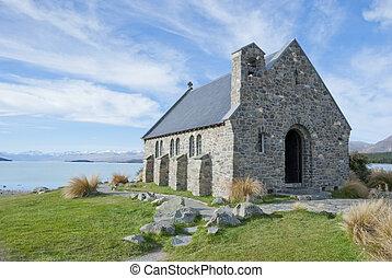 devant, acient, lac, église