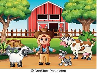 devant, animal, beau, ferme, cowgirl, grange
