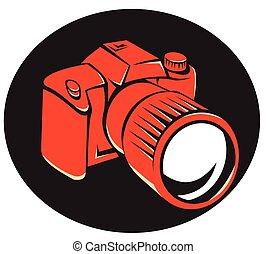 devant, appareil-photo numérique, retro, dslr