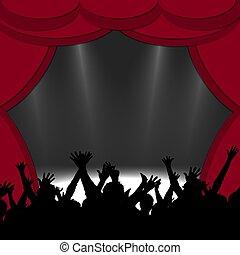 devant, applaudissement, silhouettes, étape