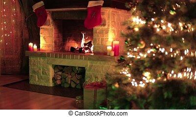 devant, arbre noël, décoré, cheminée