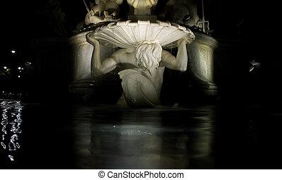 devant, autrichien, parlement, détail, statue