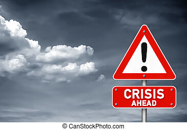 devant, avertissement, crise, panneaux signalisations
