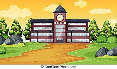 devant, bâtiment, école, scène