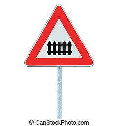 devant, barrière, passage à niveau, porte