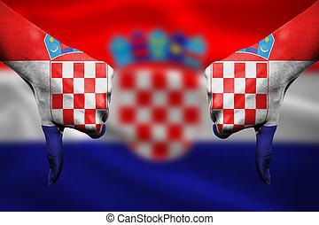 devant, -, bas, échec, croatie, pouces, mains, fla, faire gestes
