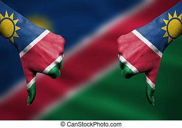 devant, -, bas, échec, namibie, pouces, mains, fla, faire gestes