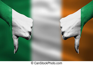 devant, -, bas, échec, pouces, irlande, mains, fla, faire gestes