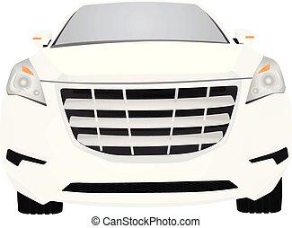 devant, blanc, voiture., vue