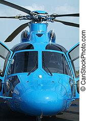 devant, bleu, vue, hélicoptère