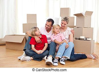 devant, boîtes, joyeux, famille, séance