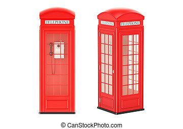 devant, cabines téléphoniques, rendre, vue, côté, rouges, 3d