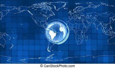 devant, carte, globe, rotation