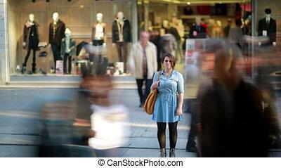 devant, centre commercial, achats, girl