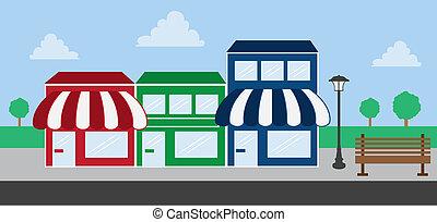 devant, centre commercial, magasin, bande