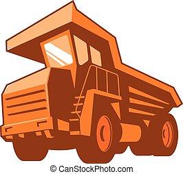 devant, creuser camion