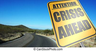 devant, crise, panneaux signalisations