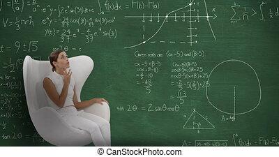devant, en mouvement, il, femme, calculs, tableau, séance
