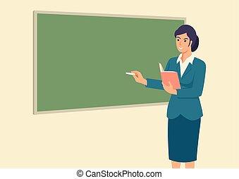 devant, enseignement, prof, salle, classe