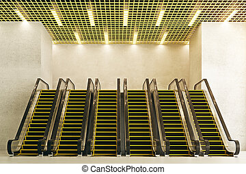 devant, escalators