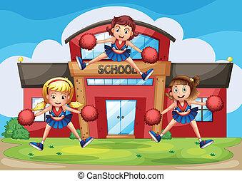 devant, exécuter, école, cheerleaders