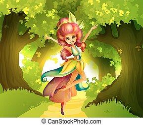 devant, fée, forêt