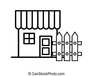 devant, façade, barrière, maison