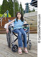 devant, fauteuil roulant, escalier, jeune fille