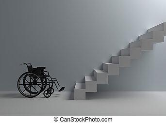 devant, fauteuil roulant, escalier