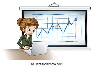 devant, femme affaires, ordinateur portable, planche, utilisation