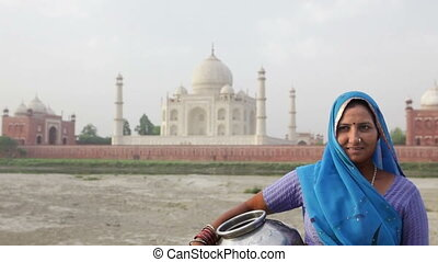 devant, femme, mahal, indien, taj