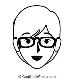 devant, femme, silhouette, lunettes, vue