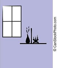 devant, fenêtre, fleurs