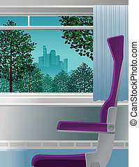 devant, fenêtre, ouvert, chaise