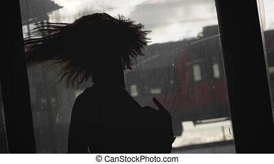 devant, fenêtre, silhouette, girl, danse