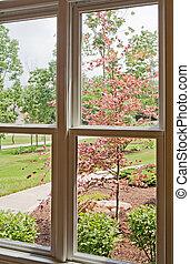 devant, fenêtre, yard, vue