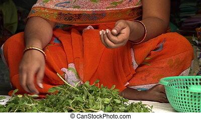 devant, feuilles, femme, légumes
