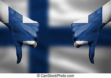 devant, finlande, -, bas, échec, pouces, mains, fla, faire gestes