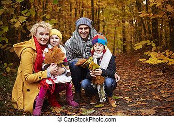 devant, forêt, famille, vue