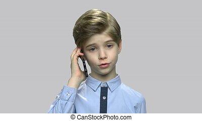 devant, garçon, conversation, téléphone, vue., mignon