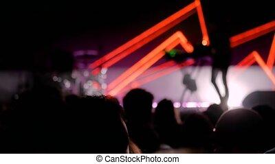 devant, gens, foule, étape, concert, partying, rocher, silhouette