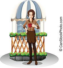 devant, girl, café