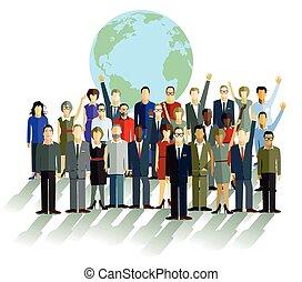 devant, globe, groupe, gens