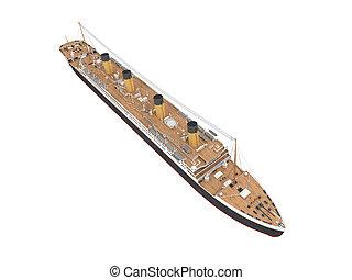 devant, grand, bateau, paquebot, vue