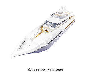devant, grand, yacht, isolé, vue